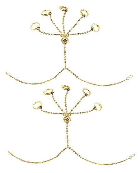 Pair of Stone Studded Ring Bracelet
