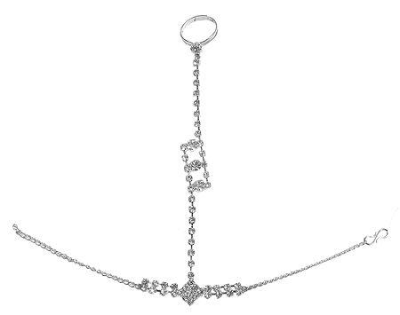 White Stone Studded Ring Bracelet For One Hand