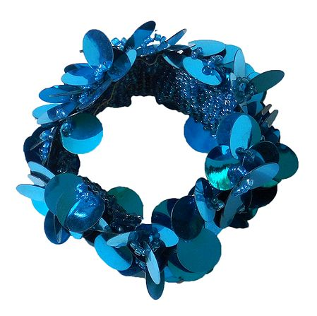 Cyan Blue Sequined Stretch Bracelet