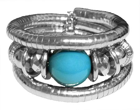 Metal Spring Bracelet with Blue Stone