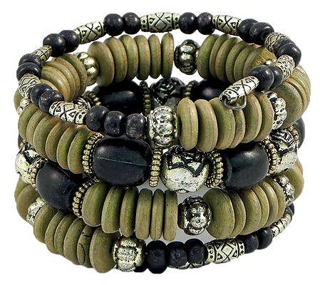 Olive Green, Black and Metal Bead Spiral Bracelet