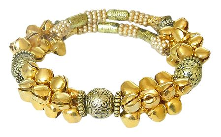 Golden Metal Bead Spring Bracelet