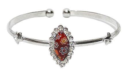 Red Stone Metal Cuff Bracelet