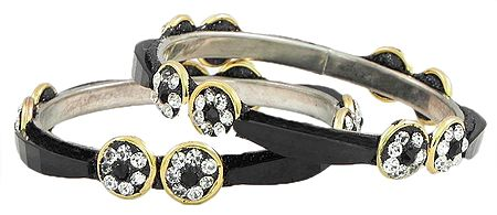 Pair of Stone Studded Black Bangles