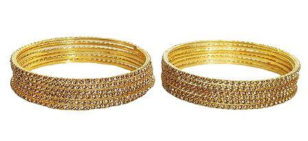 12 Golden Glitter Synthetic Bangles