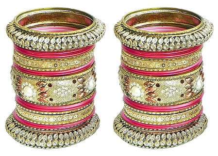 Set of 2 Golden with Red Glitter Bangles