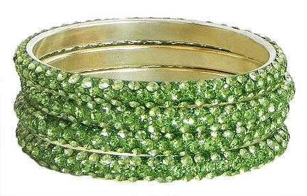 Four Light Green Stone Studded Bangles