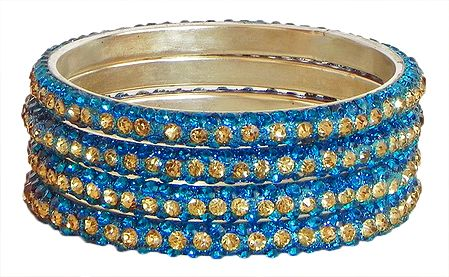Four Cyan with Golden Stone Studded Bangles
