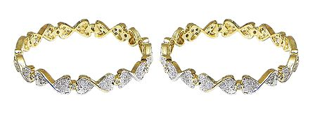 Pair of Stone Studded and Gold Plated Bangles