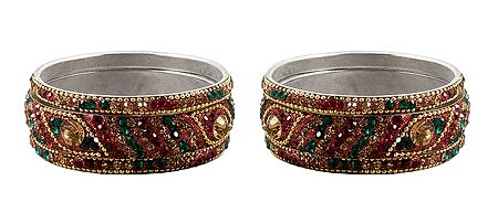 Set of 2 Multicolor Stone Studded Bangles