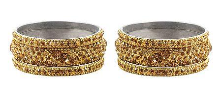 Set of 2 Golden Stone Studded Bangles