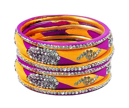 White Stone Studded Magenta with Yellow Lac Bangles