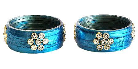 Pair of Stone Studded Cyan Bracelet