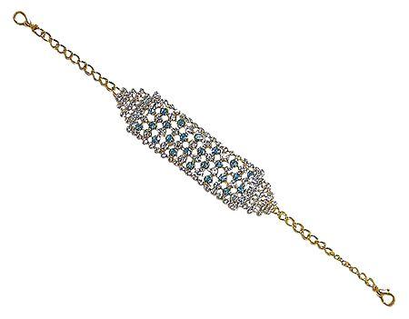 White and Blue Stone Studded Metal Bracelet