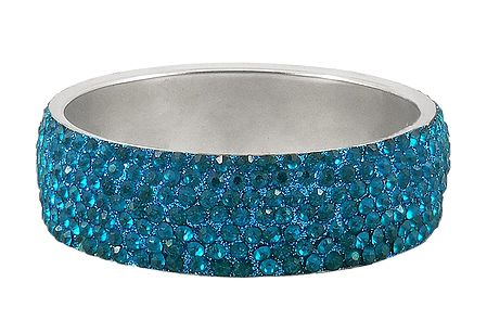 Cyan Blue Stone Studded Metal Bracelet