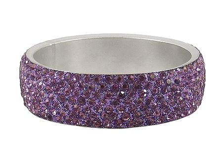 Light Purple Stone Studded Metal Bracelet