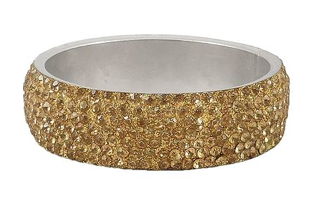 Golden Yellow Stone Studded Metal Bracelet