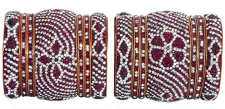 Set of 2 Red and White Stone Studded Bangles with Yellow Churis