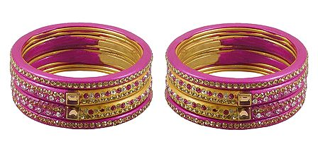 Set of 2 Stone Studded Pink Lac Bangles