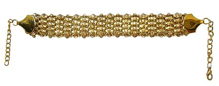 Stone Studded Golden Metal Band Bracelet