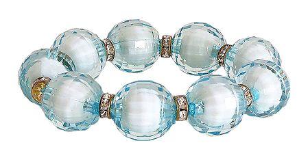 Light Blue Bead Stretch Bracelet