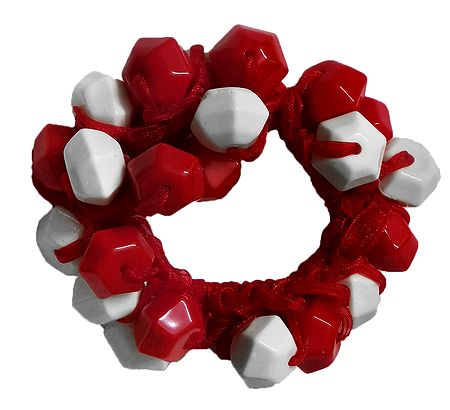 Red and White Acrylic Beaded Stretch Bracelet