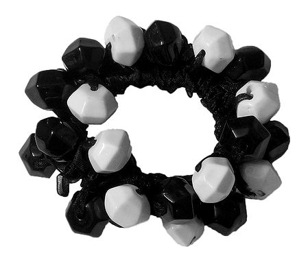 Black and White Acrylic Beaded Stretch Bracelet