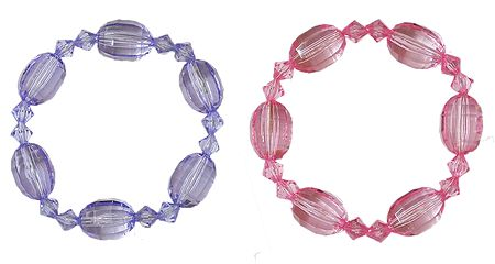 Set of 2 Mauve and Pink Acrylic Beaded Stretch Bracelet