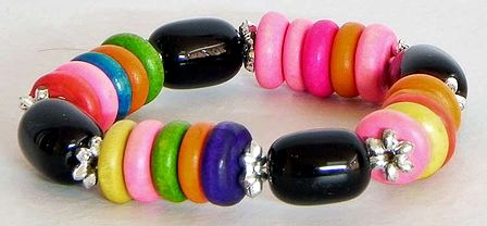 Multicolor Wheel Bead Stretch Bracelet