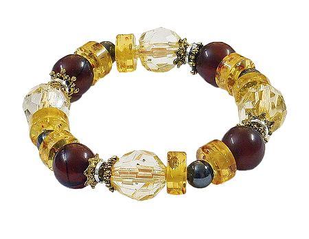 Yellow Crystal Beaded Stretch Bracelet