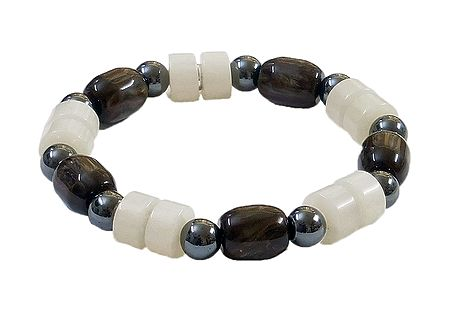 White and Dark Brown Beaded Stretch Bracelet