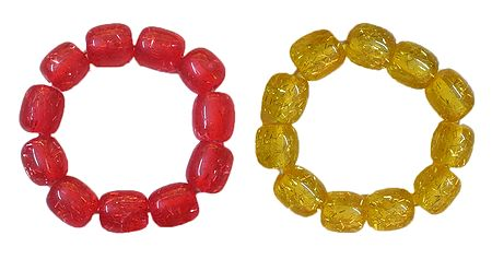 Set of 2 Red and Yellow Beaded Stretch Bracelet