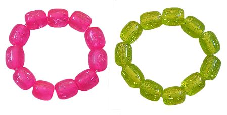 Set of 2 Magenta and Green Beaded Stretch Bracelet