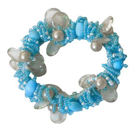 Blue with White Stretch Bracelet
