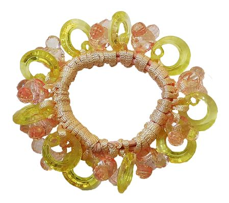 Light Yellow with Pink Stretch Bracelet