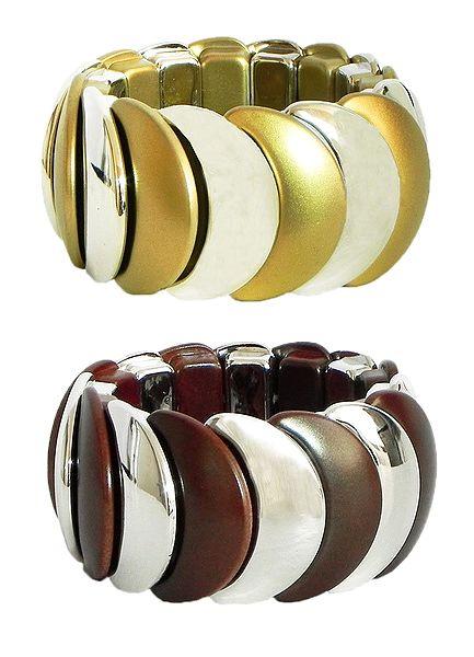 Set of 2 Stretchable Acrylic Link Bracelet