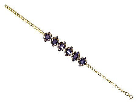 Dark Purple Stone Studded Tennis Bracelet