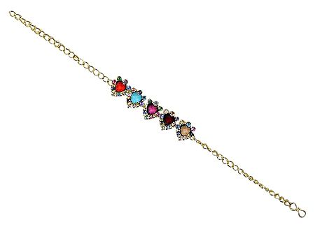 Multicolor Stone Studded Tennis Bracelet