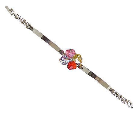 Multicolor Stone Studded Tennis Metal Bracelet