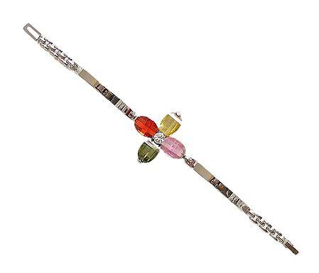 Stone Studded Metal Tennis Bracelet
