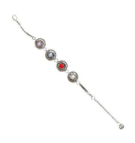 Metal Tennis Bracelet with Colorful Beaded Balls