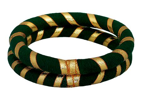 Pair of Green Thread Bangles with Golden Ribbon