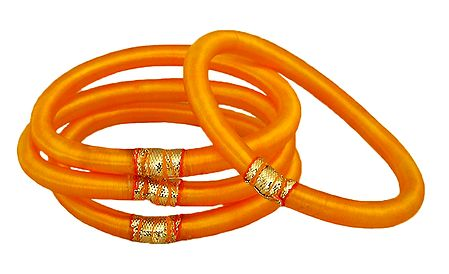 Set of 4 Yellow Thread Bangles