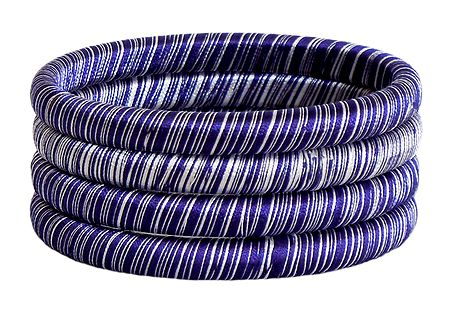 Blue and White Thread Bangles