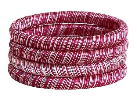 Red and White Thread Bangles