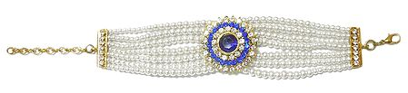 Faux Pearl with Blue and White Zirconia Bracelet
