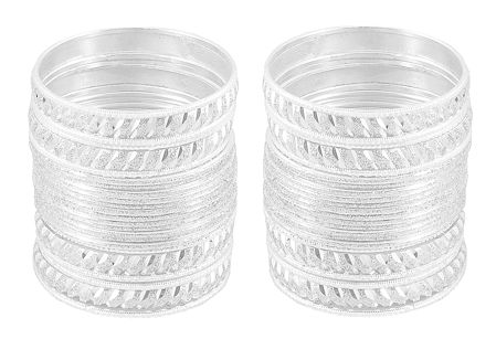 Set of 2 White Metal Bangles