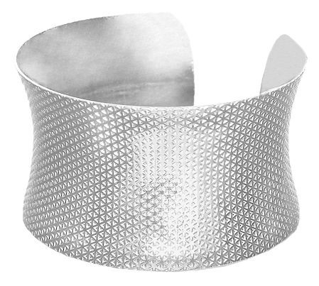 White Carved Metal Cuff Bracelet