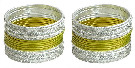 Set of 2 Yellow with White Metal Bangles