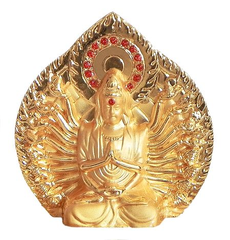 Gold Plated Avalokiteshvara - The Lord who Looks upon the World with Compassion